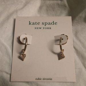 BNWT Kate Spade rose gold hoop w/cz diamond heart